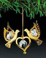 "SWAROVSKI CRYSTAL ELEMENTS ""Double Doves"" FIGURINE - ORNAMENT 24KT GOLD PLATED"