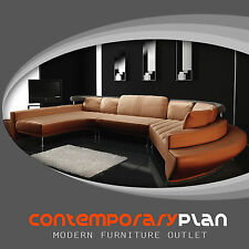 Burnt Orange Curved Chaise Leather Modern Sofa Contemporary Design Taupe NEW