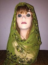 Green Long Scarf Hijab Wrap Sheer pretty and fashionable w/metallic thread