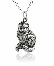 Cat Necklace - 925 Sterling Silver - Sitting Cats Pendant Kitty Kitten Pet NEW