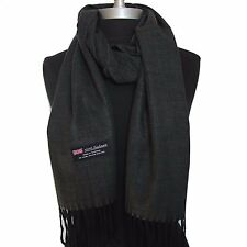 New 100% Cashmere Scarf Dark Gray Twill Check Plaid Wool Soft Unisex (#G02)