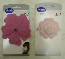 2 GOODY PONYTAIL HOLDERS 2-IN-1 Hair Accessory Girls Women Pink Flower Pin NEW