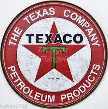 Texaco Petroleum Products ROUND TIN SIGN vtg oil & gas ad pump garage decor 1926