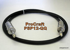 "ProCraft  (PSP12-3-QQ)  3 Foot 12 Gauge Speaker Cable with Jumbo 1/4"" Connectors"