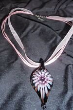 WOMANS PINK RIBBON/STRING NECKLACE WITH BLACK/PINK GLASS TEARDROP PENDANT