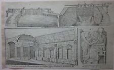 1818 ÉCLUSES FONSERANNES TEMPLE DIANE Christian Mylius litografia Béziers Nîmes