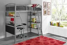 DHP Studio Twin Loft Bed with Integrated Desk & Shelves, In Silver 4016427 New