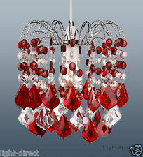 RED & CLEAR  ACRYLIC CRYSTAL CEILING PENDANT LIGHT SHADE LAMP SHADE  DROPLETS
