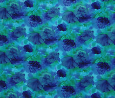 "Poly Duck Fabric Floral Printed Upholstery Blue Fabrics By The Yard 56"" Wide"