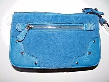Coach Women's Blue Shearling Crossbody Handbag Peacock Bag SALE