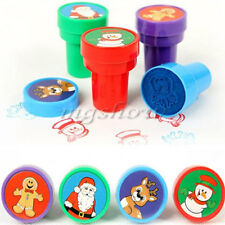 8pcs Mixed Christmas Pre Ink Stamps Stamper Craft Children Kids Party Gift Toy