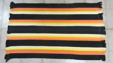 Vintage Striped Rag Throw Rug, Orange, Yellow & Black, 27 in. x 16 in.