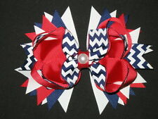 "NEW ""RED CHEVRON Pearl"" Hairbow Alligator Clips Girls Ribbon Hair Bows Uniform"