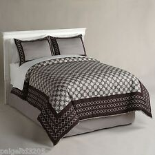 Jaclyn Smith Chocolate Brown Chain Links Full Comforter Set - 300 Thread Count