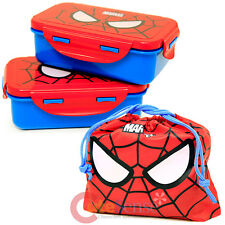 Kawaii Marvel Spiderman Lunch Box 4pc Food Container Bento with Bag