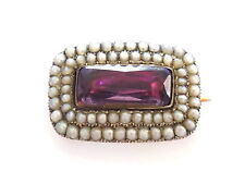 Georgian Gold Amethyst paste and Seed pearl brooch