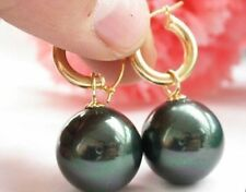 HOT Huge 14mm Black South Sea Shell Pearl Earring 14K Gold