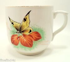 Vtg Oversized  Mustache Cup Butterfly w/ Flowers & Leaves Gold Accents