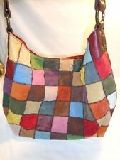 LUCKY BRAND MULTI COLOR PATCHWORK LEATHER SUEDE PURSE HOBO BAG SLOUCH TOTE