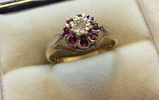 Beautiful Ladies High Quality Vintage Solid 18ct Gold Ruby & Diamond Ring - M