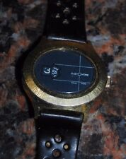 CUSTOMTIME 70'S  OVAL JUMP HOUR METAL WATCH GOLD TONE W/ BLUE ROUND DIAL