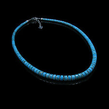 .925 Sterling Silver Natural Blue Easter Turquoise Graduated 5mm to 8mm Necklace