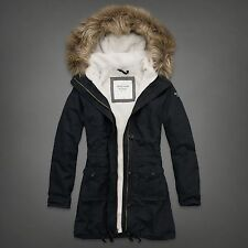 NWT Abercrombie Fitch Codie Parka Jacket Coat Fux Fur Hoodie Sherpa, Navy, Large