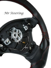 FOR FIAT PUNTO MK1 93-99 BLACK LEATHER STEERING WHEEL COVER DARK RED STITCHING