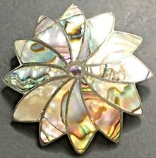 Abalone Sterling Silver Pendant Brooch Inlaid Flower Floral Mexican Signed ICM