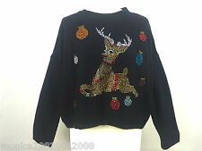 TOPSHOP NAVY BLUE KNITTED CRYSTAL CHRISTMAS REINDEER JUMPER SIZE UK10/EU38/US6