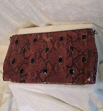 "PRADA Reddish Brown Python Snakeskin JEWELS Handbag Clutch Strap - LARGE 16""x9"""