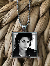 Michael Jackson Vintage Portrait Art Glass Pendant Silver Chain Necklace  NEW