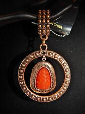 NWT WOMENS COPPER STUD SCARF RING W/ STUDDED CIRCLE PENDANT BRNT ORANGE CABOCHON