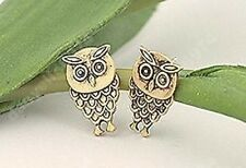 2cm ANTIQUE BRASS cute OWL STUDS vintage style EARRINGS