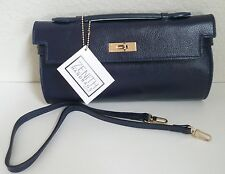 Zenith Clutch Purse Navy Blue Leather Removable Shoulder Strap NWT