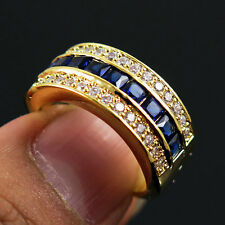 Ink Blue Sapphire CZ Wedding Ring Man/Womens 10KT yellow Gold Filled Size 9