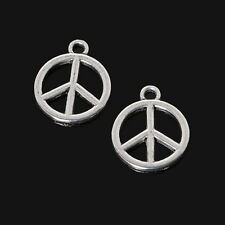 20 x Silver Tone Peace Charms 15mm x 12mm Metal Pendant Art Craft Symbols Sign