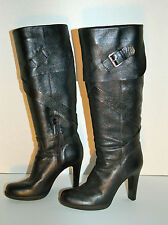 Via Spiga Tall Cuffed with Buckle Boots in Black, Size 7.5M