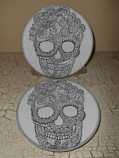 4pc 222 FIFTH Wiccan Skull Lace Halloween Dinnerware Salad Plates Dawn Dead