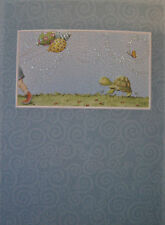 Carol Wilson Birthday Card Glitter Belated Late Turtle Balloons Butterfly