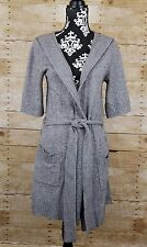 Banana Republic Gray Hooded Cardigan Sweater Long Belted Wool Cashmere Sz Small