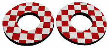 Flite old school BMX bicycle grip foam donuts - CHECKERBOARD RED *MADE IN USA*