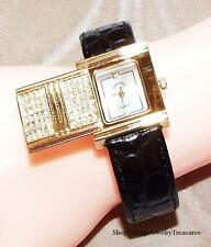 Adrienne Couture Crystal Covered Dial Black Leather Cuff Watch New