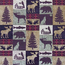 UPHOLSTERY FABRIC MOUNTAIN LODGE CABIN RUSTIC FISH BEAR MOOSE TREES FURNITURE