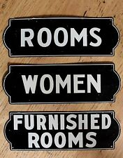 3 Original Vintage Metal Furnished Rooms For Rent Signs Women Non Porcelain Sign