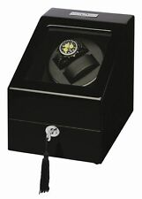 Diplomat Gothica Black Dual Double 2 Watch Winder Wood Display Storage Box NEW