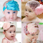 Cute Baby Girls Infant Feather Headband Bow Flower Headwear Hair Band Blue