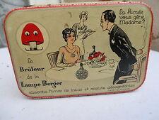 Ancienne boite en tôle Lithographiée Bruleur Lampe Berger jeu de cartes