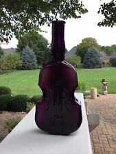 """Rare 7 ¼"""" Dark Amethyst Puce Violin Bottle Hand Blown"""