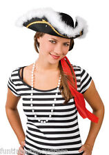 Black Pirate Captain Tricorn Hat White Marabou Feather & Gold Braid Fancy Dress